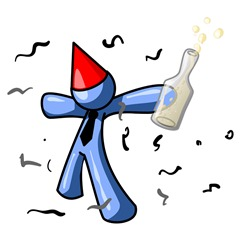 Happy Blue Man Partying With a Party Hat, Confetti and a Bottle of Liquor Clipart Illustration