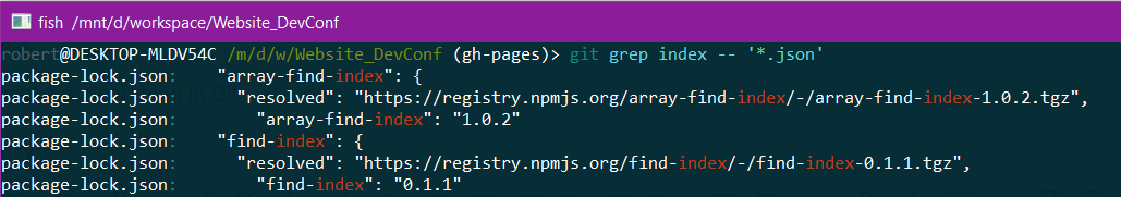 Demo of git grep with filter